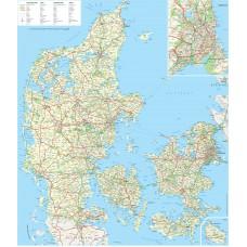 Whiteboard med Danmarks kort