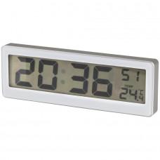 Batteridrevet digitalur med sekunder, termometer og magnetfunktion