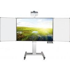 Højdejusterbart mobilt whiteboard-projektorskærm stativ med sidetavler