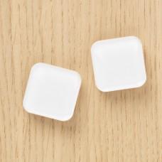 Stærke glasmagneter hvid firkant, 2-pak