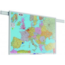 Tavle til vægskinnesystem - Europa- el. verdenskort