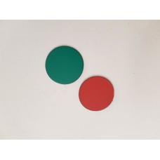 Vendbar magnet Ø25mm rød/grøn