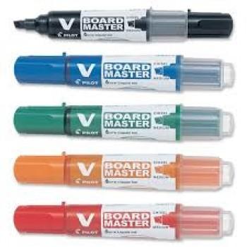 Pilot whiteboard marker medium med bred mejsel spids i pakke med 5 stk.