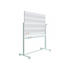 Whiteboard svingtavle med nodelinjer på begge sider, på mobilt stativ